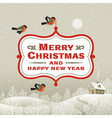 Christmas signboard over winter landscape vector image