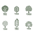 Set of stylized abstract graphic tree logo vector image