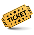 Yellow ticket with stars vector image vector image