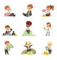 kids in financial business set of cute boys and vector image vector image