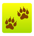 animal tracks sign  brown icon at green vector image