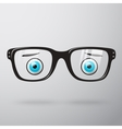Worried glasses with eyes vector image