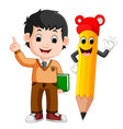 cartoon boy with a big pencil vector image