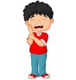 Cartoon little boy toothache vector image