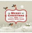 Christmas signboard over winter landscape vector image