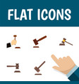 Flat icon hammer set of justice legal tribunal vector image