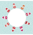 Happy New Year card for your text round frame vector image