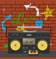 tape stereo recorder over graffiti wall vector image