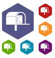 mailbox icons set hexagon vector image