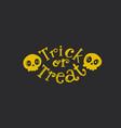Trick or treat flat emblem vector image