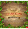 Xmas Wood Background With Holly Berry vector image vector image