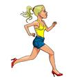 Cartoon woman in high heels running side view vector image