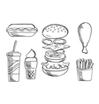 Fast food snacks and drink sketch icons vector image vector image