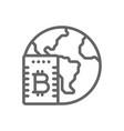 bitcoin cloud mining line icon vector image