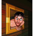 cartoon man climbed out of the window and funny vector image