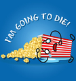 crying cartoon on popcorn box spilling popcorn vector image