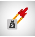 red rocket concept business bag money vector image