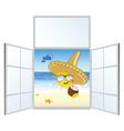 sun on the beach and window vector image