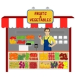 vegetables and fruits shop with young man seller vector image
