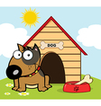 Happy Brown Bull Terrier Sitting By A Bone In A Bo vector image
