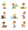 kids in financial business collection of cute boys vector image vector image