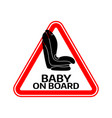 baby on board sign with child car seat in red vector image