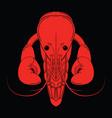crayfish red logo isolated on black background vector image