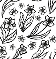 Floral doodling seamless background in tattoo vector image