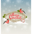 Two bullfinch and greeting inscription vector image vector image