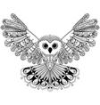 Zentangle stylized Black Owl Hand Drawn isolated vector image