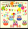 birthday party elements with cute owls vector image