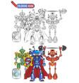 book coloring bright robots aliens athletes super vector image