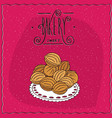 cookies in the form of walnuts on a lacy napkin vector image