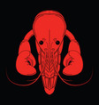crayfish red logo isolated on black background vector image