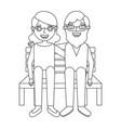 cute grandma and grandpa sitting in bench happy vector image