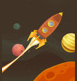 rocket ship flying through space vector image