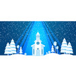 the church and christmas tree cut from white paper vector image