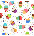 colorful pattern with sweet cupcakes vector image