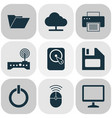 laptop icons set collection of power on printing vector image
