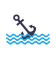 anchor maritime with waves vector image