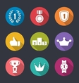 Flat Icons Collection of Awards and Trophy Signs vector image