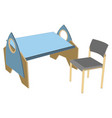 kids room table children interior flat design vector image