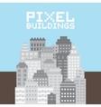 Pixel art buildings set vector image