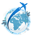 Traveling by a plane vector image