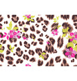 cute flower seamless mix leopard pattern vector image