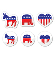 USA political symbols democrats and repbublicans vector image vector image