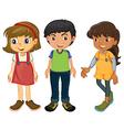 Three kids vector image vector image