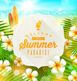 Banner with summer greeting and frangipani flowers vector image vector image