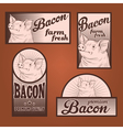 Bacon vintage labels set vector image
