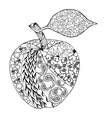 Monochrome Apple zentangle style for coloring book vector image